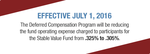 Effective July 1, 2016. The Deferred Compensation Program will be reducing the fund operating expense charged to participants for the Stable Value Fund from .325% to .305%.